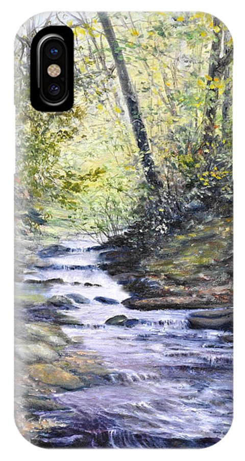Nature IPhone X Case featuring the painting Sunlit Stream by Penny Neimiller