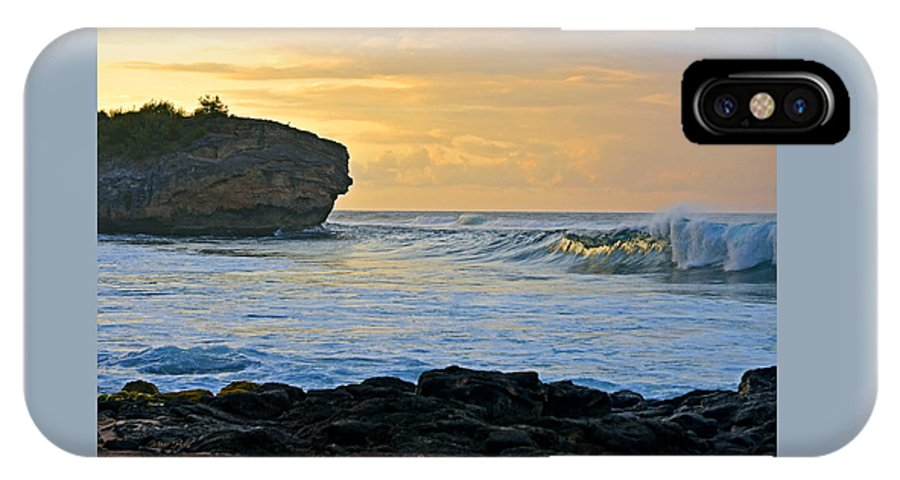Hawaii IPhone X Case featuring the photograph Sunlit Waves - Kauai Dawn by Marie Hicks