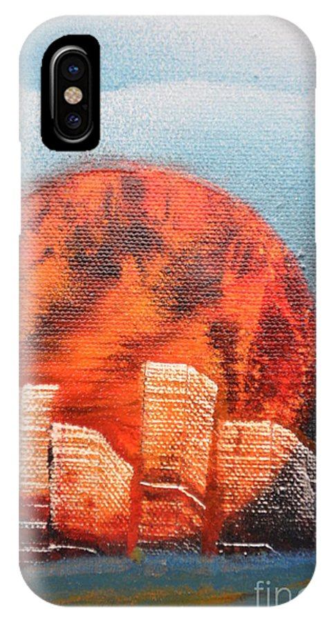 Sun IPhone X Case featuring the painting Sunny Buildings by Zack Anderson