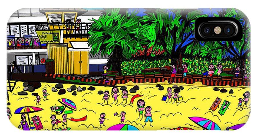 Beach IPhone X Case featuring the digital art Sunny Day At The Beach by Karen Elzinga