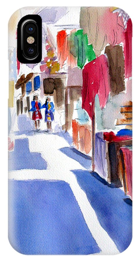 Market IPhone X Case featuring the painting Sunny Day At The Market by Marsha Elliott