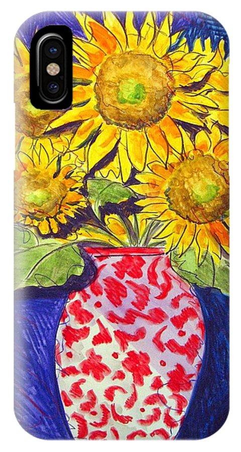 Sunflower IPhone X Case featuring the painting Sunny Disposition by Jean Blackmer