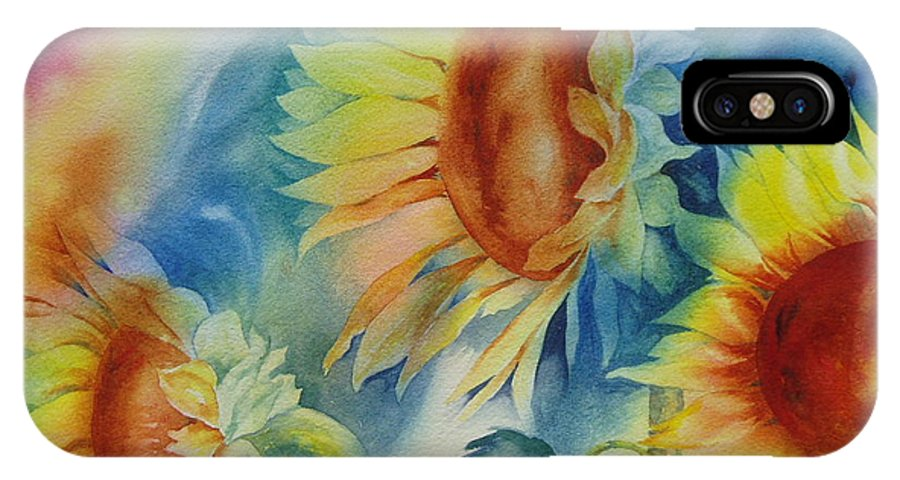Sunflowers IPhone X Case featuring the painting Sunny Flowers I by Tara Moorman