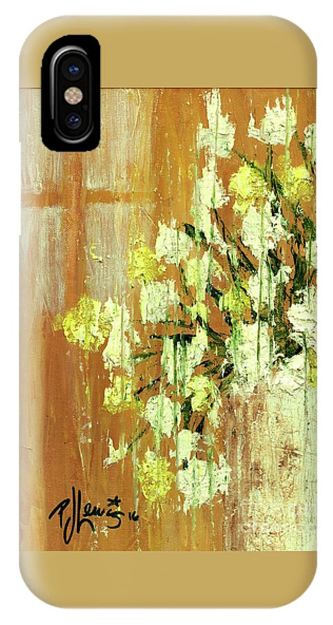 Yellow IPhone X Case featuring the painting Sunny Flowers by PJ Lewis