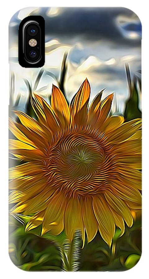 Digital Art IPhone X Case featuring the digital art Sunny Sunflower by Raven Steel Design