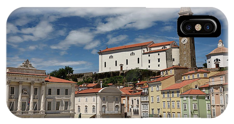 St. George's IPhone X Case featuring the photograph Sunny Tartini Square In Piran Slovenia With Government Building, by Reimar Gaertner