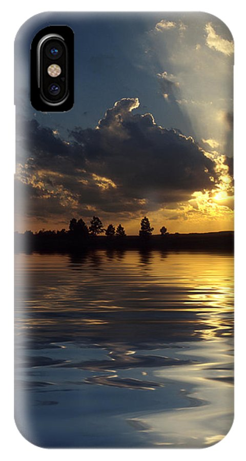 Sunset IPhone X Case featuring the photograph Sunray Sunset by Jerry McElroy