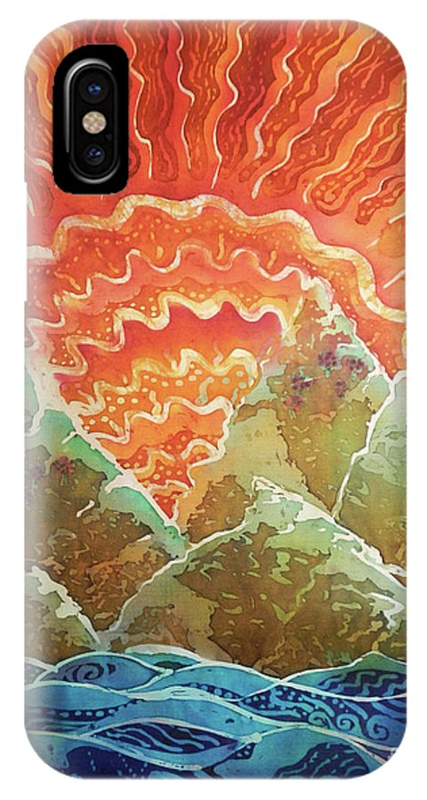 Sunrise IPhone X Case featuring the painting Sunrays by Sue Duda