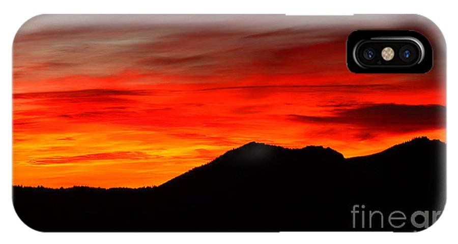 Sunrise IPhone Case featuring the photograph Sunrise Against Mountain Skyline by Max Allen