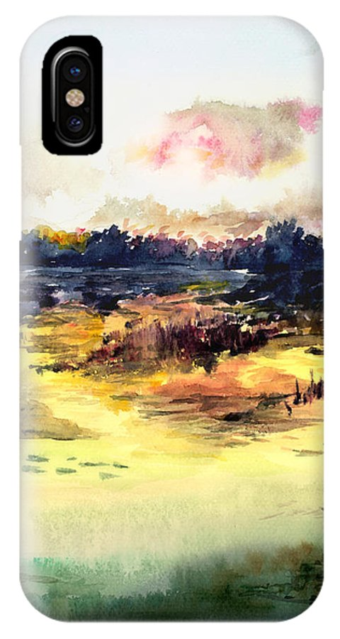 Landscape Water Color Sky Sunrise Water Watercolor Digital Mixed Media IPhone X Case featuring the painting Sunrise by Anil Nene