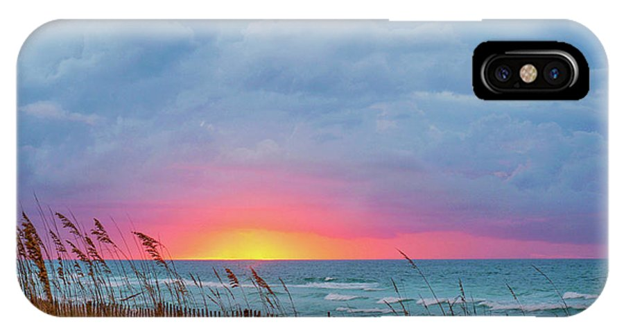 Seascape IPhone X Case featuring the photograph Sunrise by Anita Duff