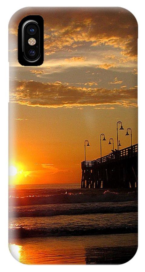Daytona IPhone X Case featuring the photograph Sunrise At Daytona Beach Pier 004 by Chris Mercer