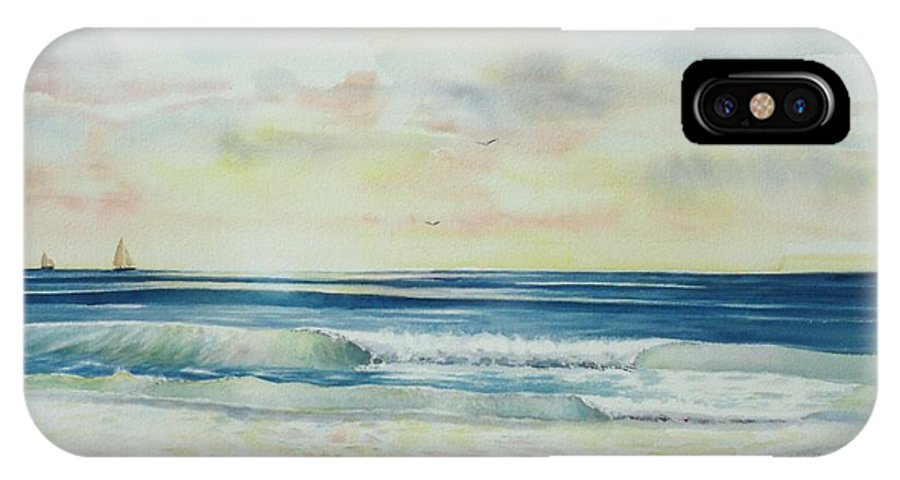 Seascape IPhone X Case featuring the painting Sunrise At The Beach IIi by Tom Harris