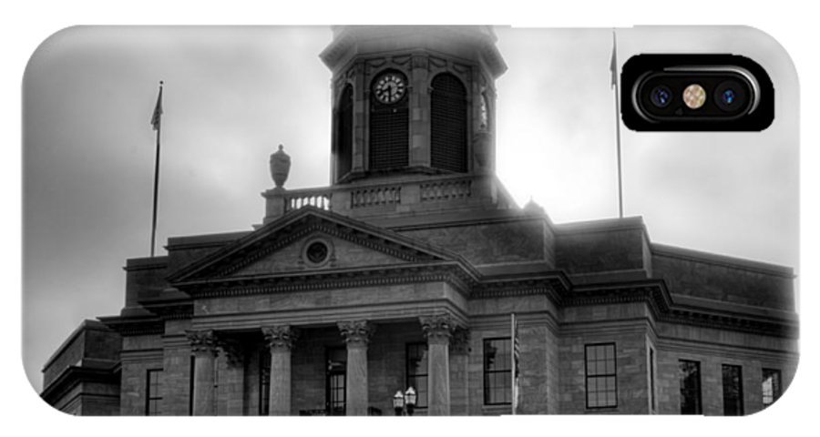 Cherokee County IPhone X Case featuring the photograph Sunrise On Cherokee County Courthouse In Black And White by Greg Mimbs