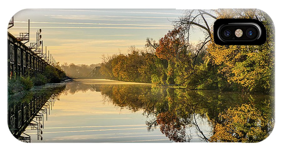 Sunrise IPhone X Case featuring the photograph Sunrise on the Canal by Tim Wilson