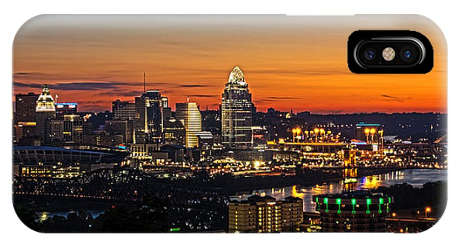 Sunrise IPhone X Case featuring the photograph Sunrise Over Cincinnati by Keith Allen