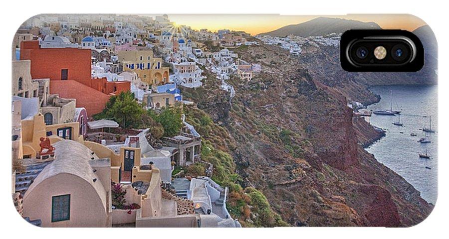 Santorini Images IPhone X Case featuring the photograph Sunrise Over Santorini, Greece 1 by Rob Greebon