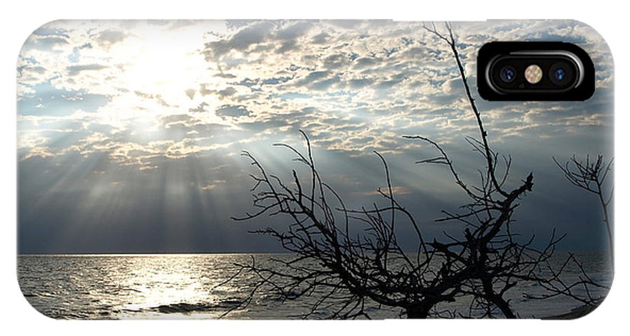 Morning; Sun; Rise; Sunrise; Sunset; Space; Coast; Melbourne; Beach; Florida; Shore; Rays; Fog; Mist IPhone X Case featuring the photograph Sunrise Prayer On The Beach by Allan Hughes