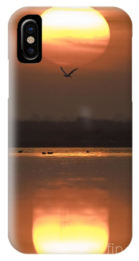 Lake IPhone X Case featuring the photograph Sunrise Reflection by Hitendra SINKAR
