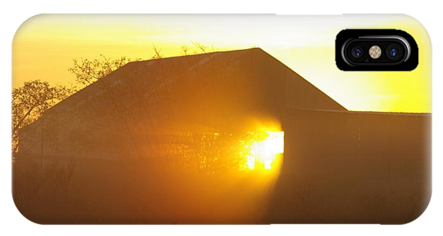 Barn IPhone X / XS Case featuring the photograph Sunrise Though Barn by H L Fahnestock