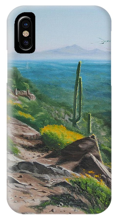 Landscape IPhone Case featuring the painting Sunrise Trail by Lea Novak