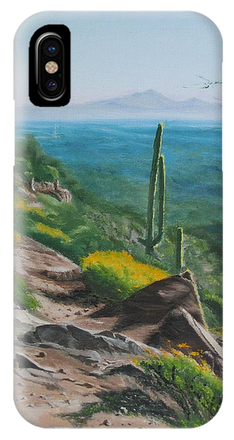 Landscape IPhone X Case featuring the painting Sunrise Trail by Lea Novak