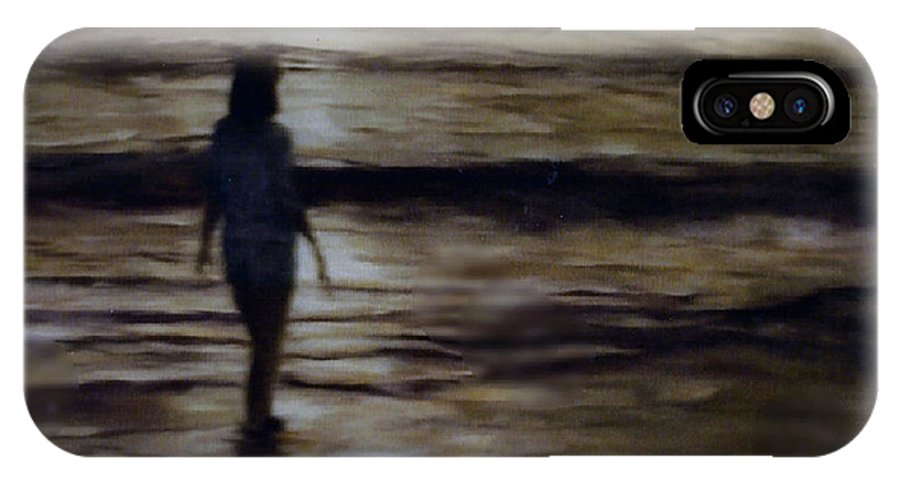 Figure IPhone X Case featuring the painting Sunrise Walk In The Sea by Fran Rittenhouse-McLean