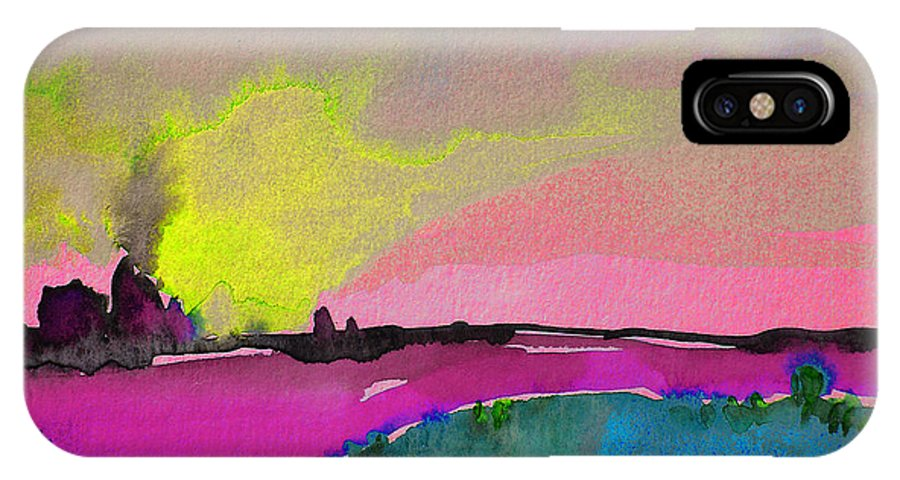 Landscape IPhone X / XS Case featuring the painting Sunset 09 by Miki De Goodaboom