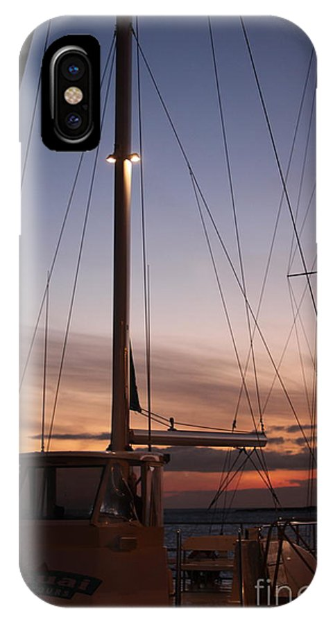 Sunset IPhone X Case featuring the photograph Sunset And Sailboat by Nadine Rippelmeyer