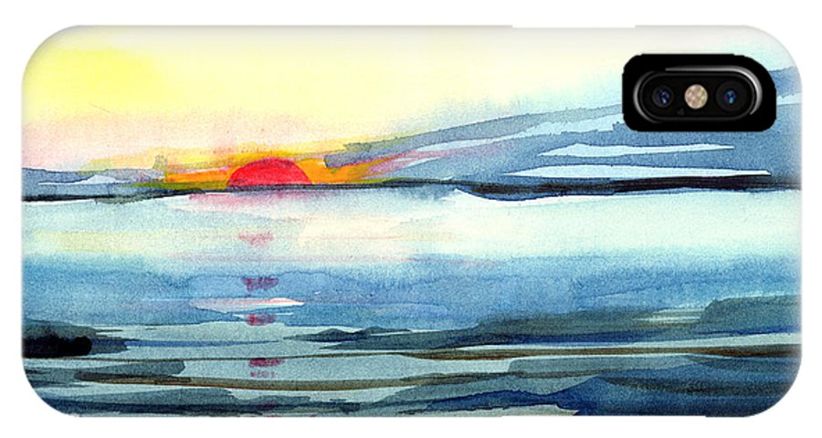 Landscape Seascape Ocean Water Watercolor Sunset IPhone X Case featuring the painting Sunset by Anil Nene