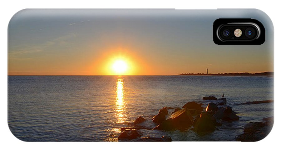 Sunset IPhone X Case featuring the photograph Sunset At Cape May Beach by Bill Cannon