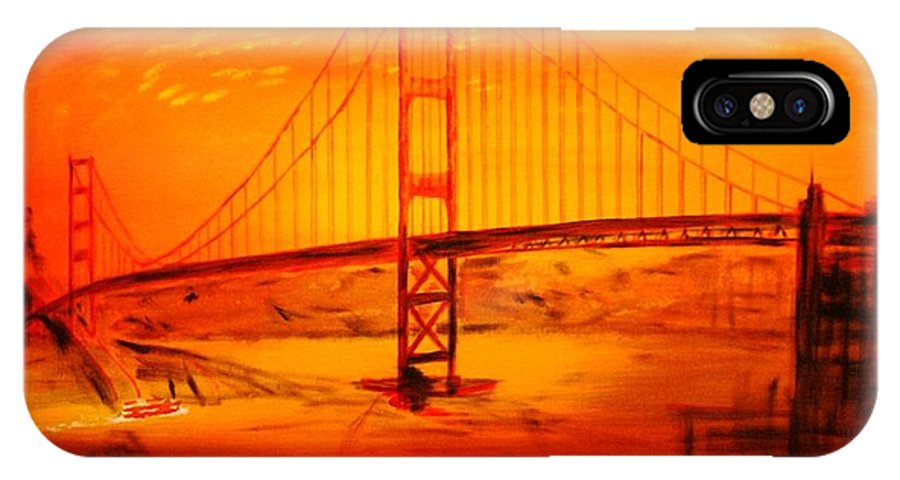 Sunset At Golden Gate IPhone X / XS Case featuring the painting Sunset At Golden Gate by Helmut Rottler