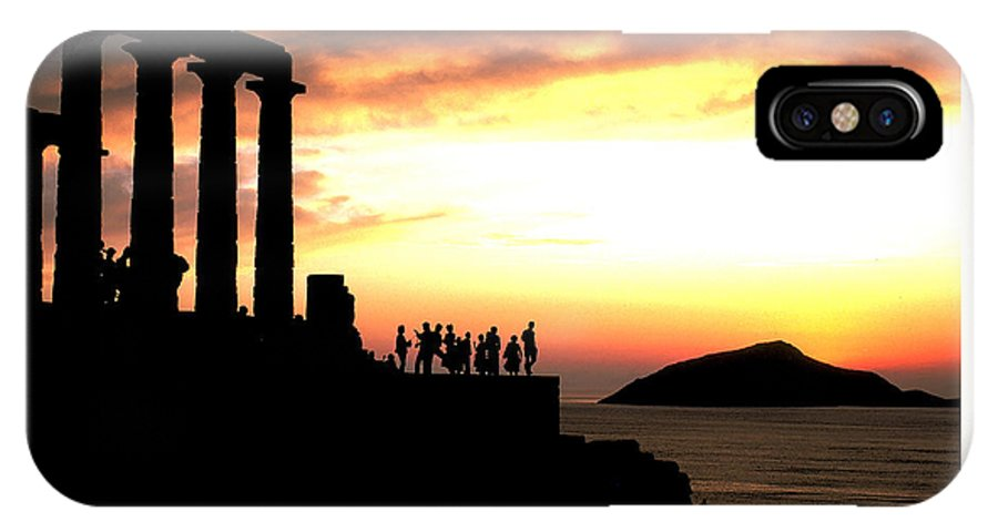 Sunset IPhone X Case featuring the photograph Sunset At Temple Of Poseidon by Carl Purcell