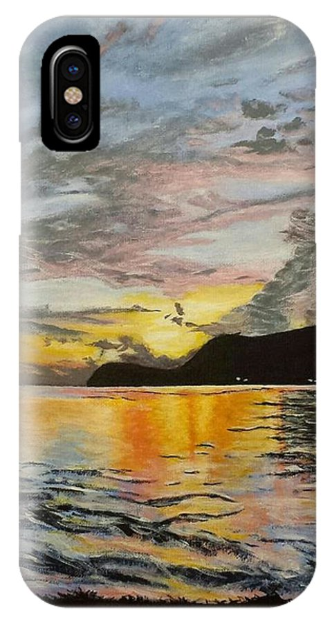 Landscape IPhone X / XS Case featuring the painting Sunset At The Barracks by Asiya Skinner