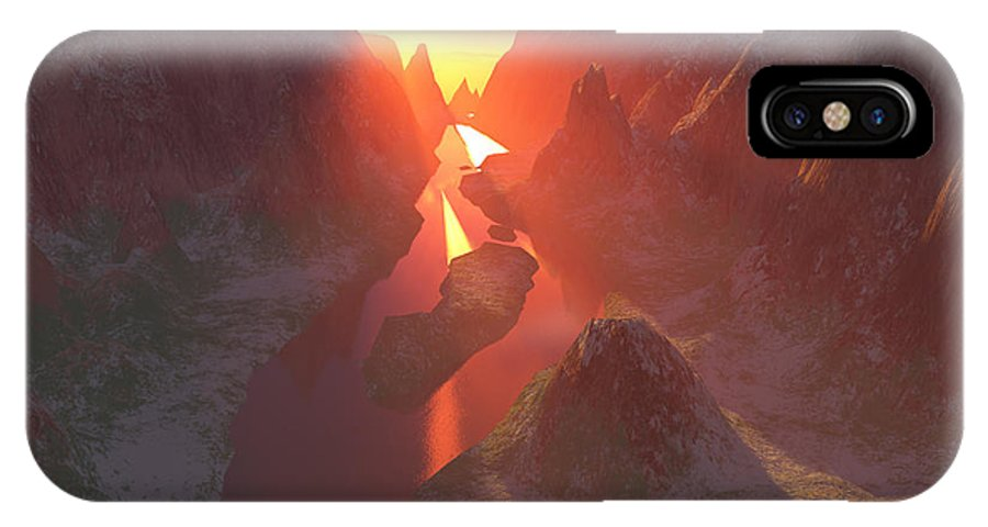 Canyon IPhone Case featuring the digital art Sunset At The Canyon by Gaspar Avila