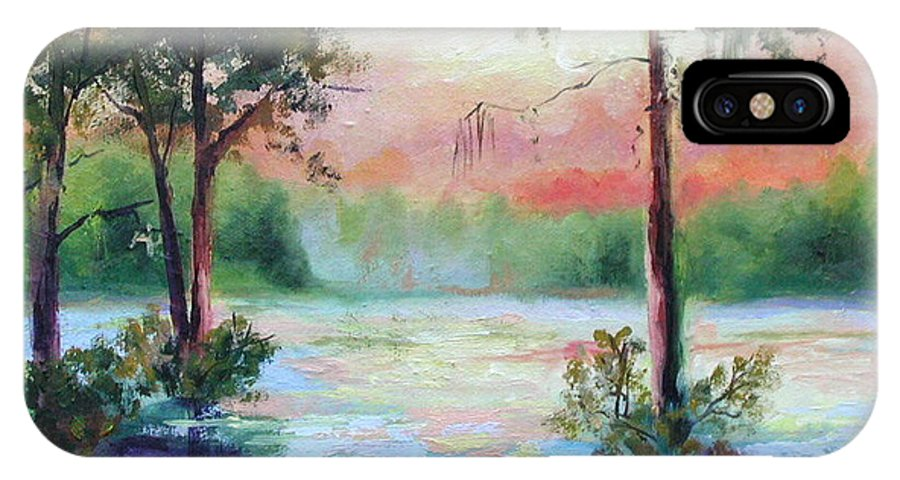 Sunset IPhone Case featuring the painting Sunset Bayou by Ginger Concepcion