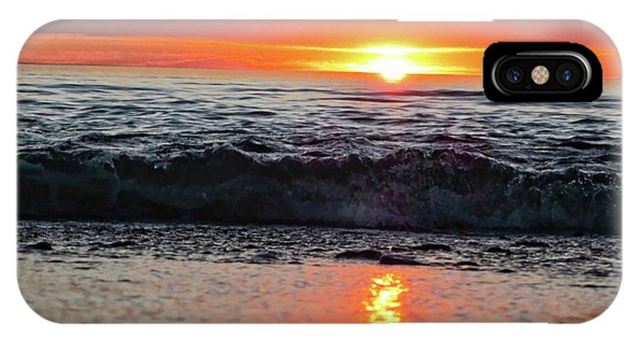 Waves IPhone X Case featuring the photograph Sunset Beach by Douglas Barnard