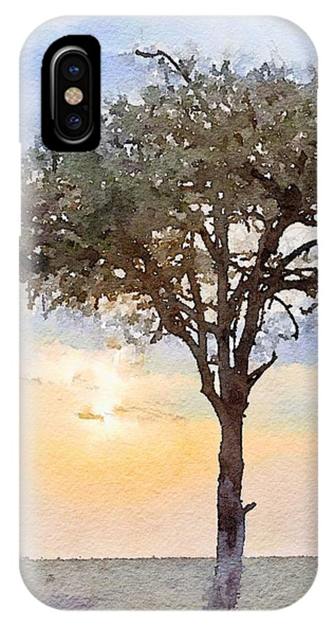 Sunset IPhone X Case featuring the photograph Sunset Behind Acacia Tree Digital Watercolor by Janet Ogren