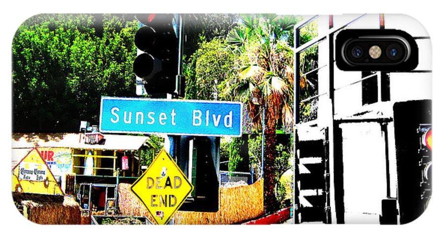 Stoplight On Sunset Blvd IPhone Case featuring the digital art Sunset Blvd by Maria Kobalyan