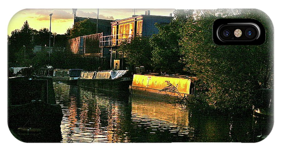 Canal IPhone X Case featuring the photograph Sunset Canal Reflections by Steve Swindells