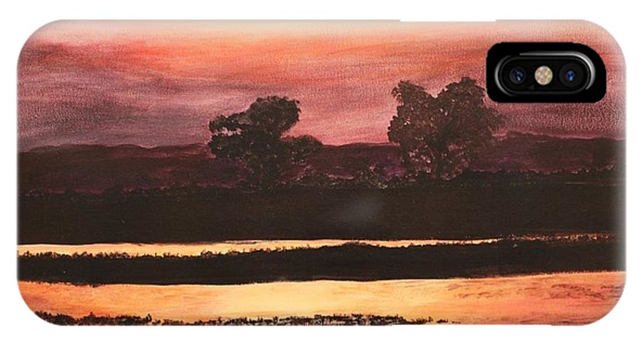 Landscape IPhone X Case featuring the painting Sunset by Chaelin Lee