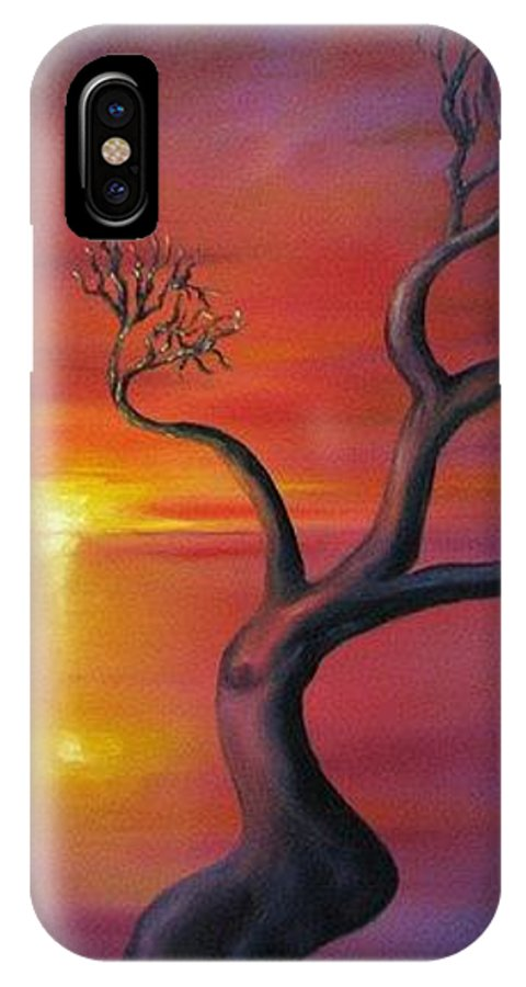 Landscape IPhone X Case featuring the painting Sunset Dance Fantasy oil painting by Natalja Picugina