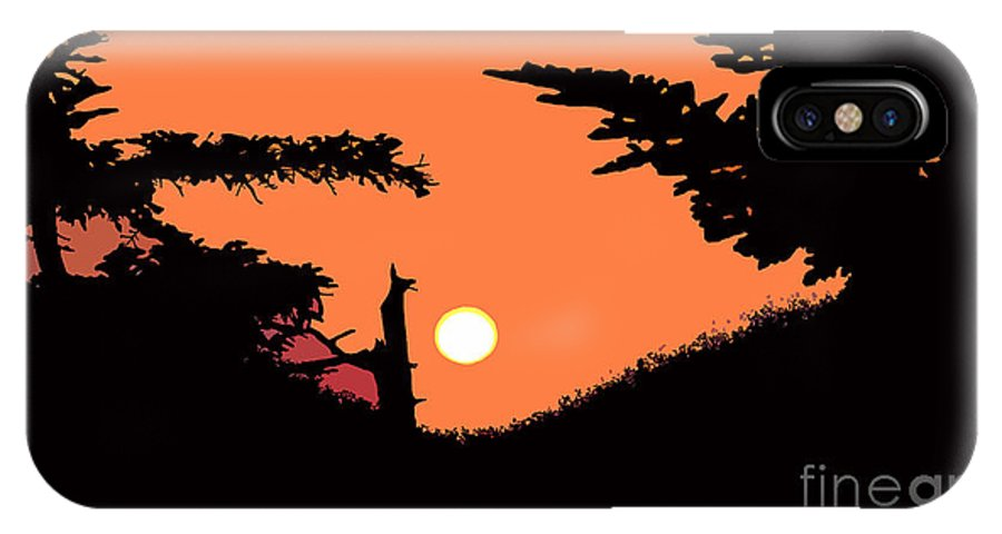 Sunset IPhone X Case featuring the painting Sunset by David Lee Thompson
