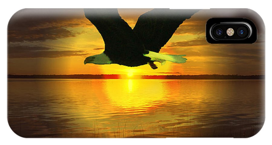 Sunset Eagle Water Lake Birds Of Prey Hunting Flying Skyscape IPhone X Case featuring the photograph Sunset Eagle by Andrea Lawrence