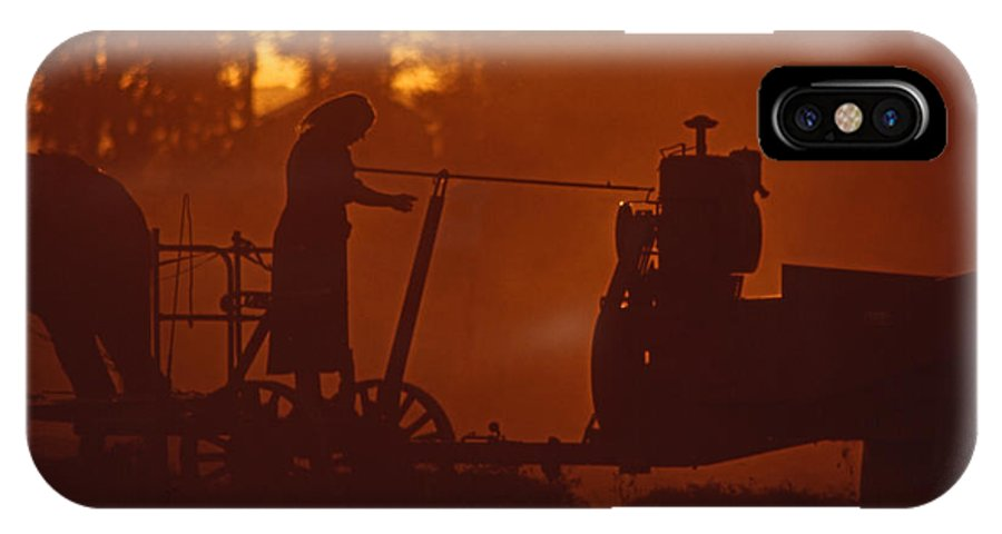 Amish IPhone X Case featuring the photograph Sunset Female Amish Farmer by Blair Seitz