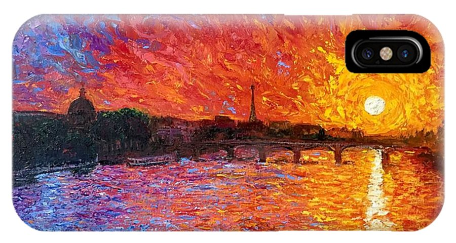 Sunset IPhone X Case featuring the painting Sunset from Pont Neuf by Ericka Herazo