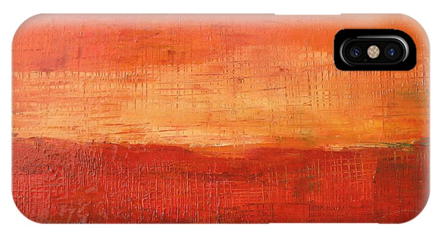 Abstract IPhone X Case featuring the painting Sunset by Habib Ayat