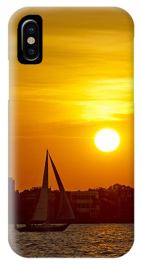 Sunset IPhone X Case featuring the photograph Sunset In Charleston South Carolina Sailboat by Dustin K Ryan