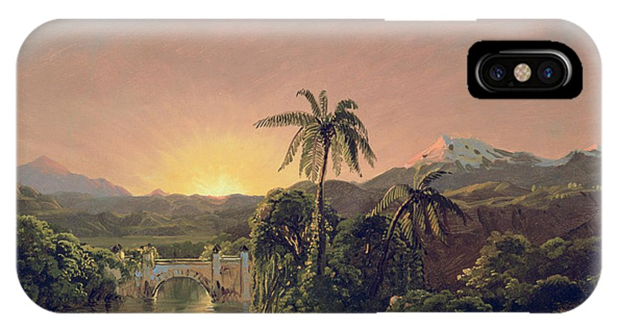 Sunset Sunset In Equador (oil On Canvas) By Frederic Edwin Church (1826-1900) IPhone X Case featuring the painting Sunset In Equador by Frederic Edwin Church