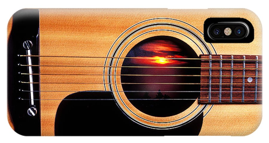 Guitar IPhone X Case featuring the photograph Sunset In Guitar by Garry Gay